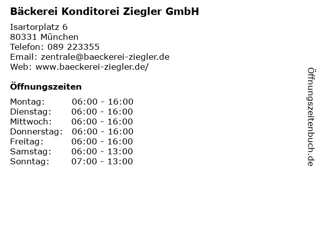 Bäckerei Konditorei Ziegler GmbH in München: Adresse und Öffnungszeiten