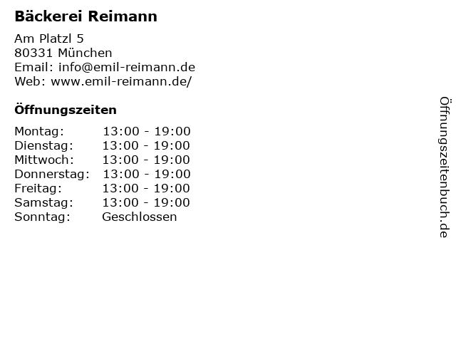 Bäckerei Reimann in München: Adresse und Öffnungszeiten