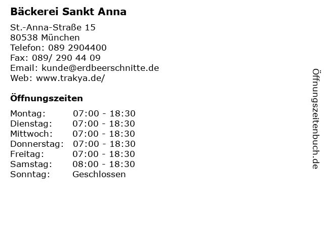 Bäckerei Sankt Anna in München: Adresse und Öffnungszeiten