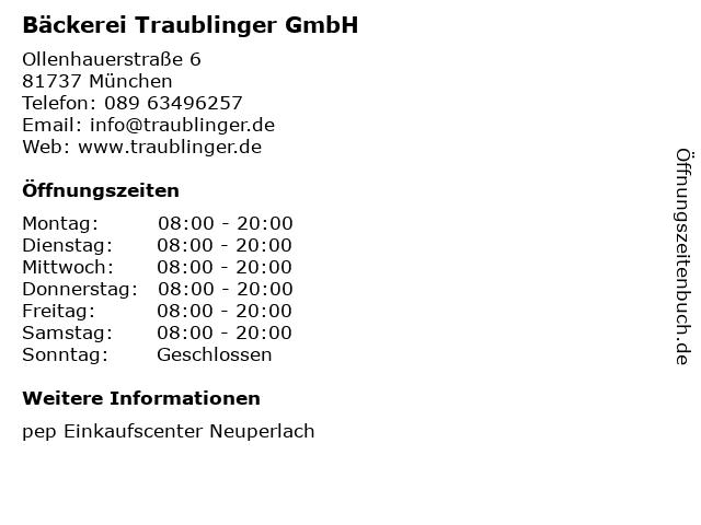 Bäckerei Traublinger GmbH in München: Adresse und Öffnungszeiten
