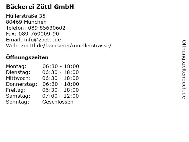 Bäckerei Zöttl GmbH in München: Adresse und Öffnungszeiten