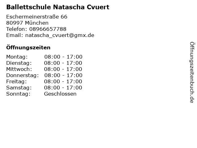 Ballettschule Natascha Cvuert in München: Adresse und Öffnungszeiten
