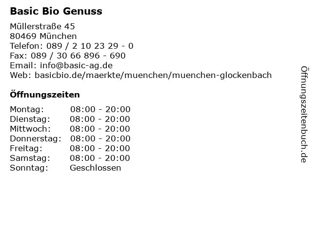 Basic Bio Genuss in München: Adresse und Öffnungszeiten