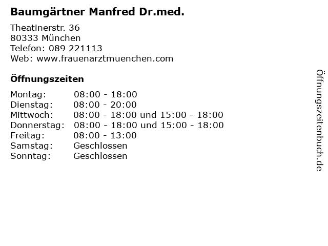 Baumgärtner Manfred Dr.med. in München: Adresse und Öffnungszeiten