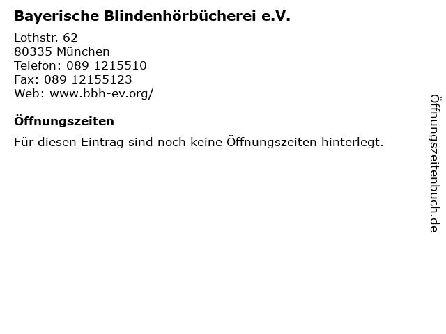 Bayerische Blindenhörbücherei e.V. in München: Adresse und Öffnungszeiten
