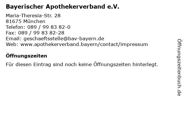Bayerischer Apothekerverband e.V. in München: Adresse und Öffnungszeiten