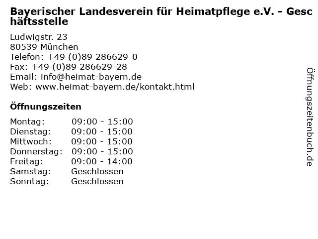 Bayerischer Landesverein für Heimatpflege e.V. - Geschäftsstelle in München: Adresse und Öffnungszeiten