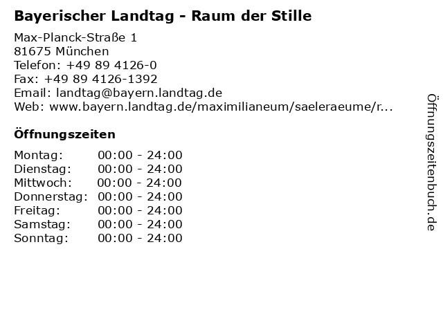 Bayerischer Landtag - Raum der Stille in München: Adresse und Öffnungszeiten