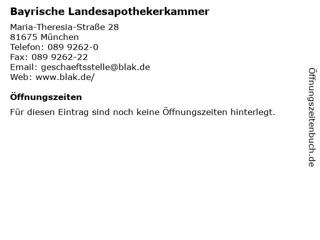 Bayrische Landesapothekerkammer in München: Adresse und Öffnungszeiten