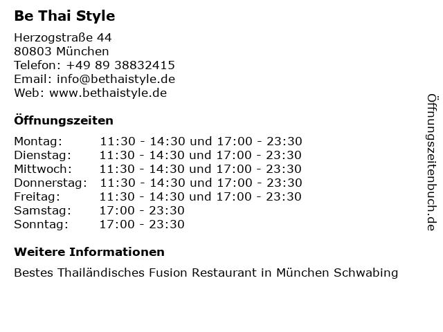 Be Thai Style in München: Adresse und Öffnungszeiten
