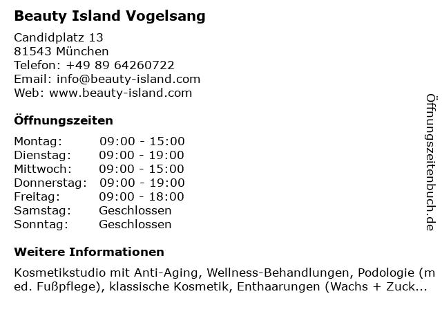 Beauty Island Vogelsang in München: Adresse und Öffnungszeiten