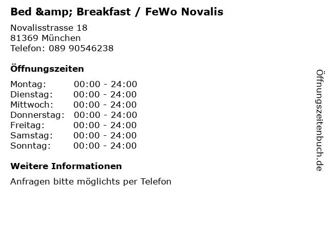 Bed & Breakfast / FeWo Novalis in München: Adresse und Öffnungszeiten