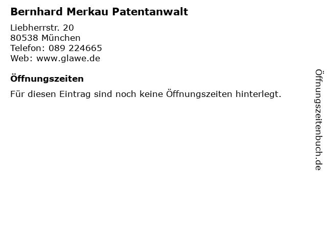 Bernhard Merkau Patentanwalt in München: Adresse und Öffnungszeiten