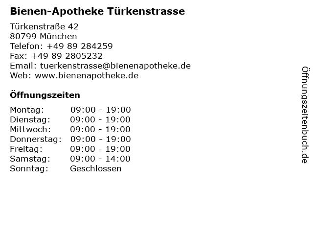 Bienen-Apotheke Türkenstrasse in München: Adresse und Öffnungszeiten