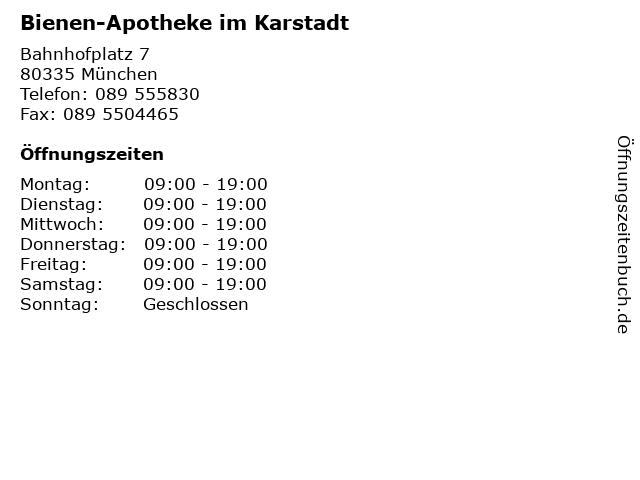 Bienen-Apotheke im Karstadt in München: Adresse und Öffnungszeiten