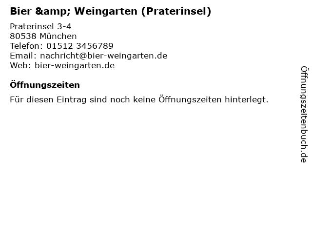 Bier & Weingarten (Praterinsel) in München: Adresse und Öffnungszeiten