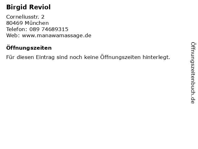 Birgid Reviol in München: Adresse und Öffnungszeiten