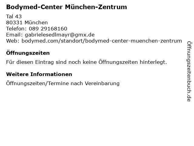 Bodymed-Center München-Zentrum in München: Adresse und Öffnungszeiten