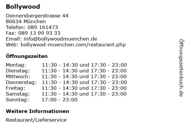 Bollywood in München: Adresse und Öffnungszeiten