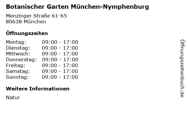 Botanischer Garten München-Nymphenburg in München: Adresse und Öffnungszeiten