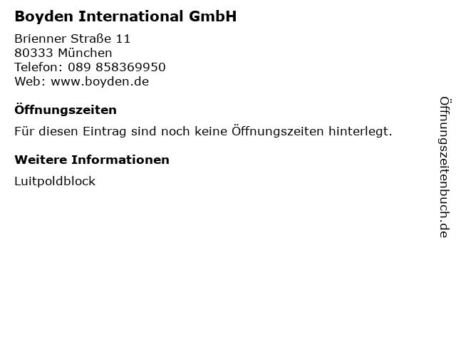 Boyden International GmbH in München: Adresse und Öffnungszeiten