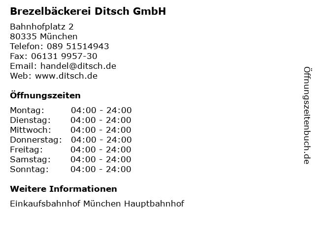 Brezelbäckerei Ditsch GmbH in München: Adresse und Öffnungszeiten