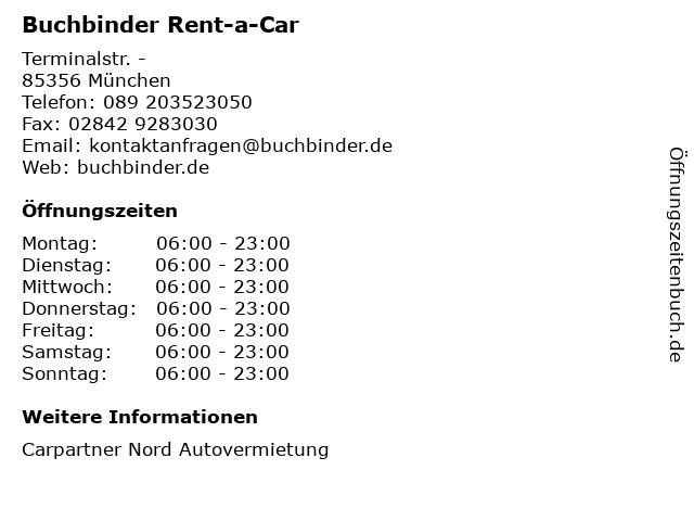 Buchbinder Rent-a-Car in München: Adresse und Öffnungszeiten