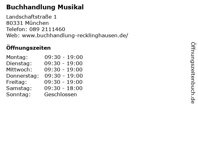 Buchhandlung Musikal in München: Adresse und Öffnungszeiten