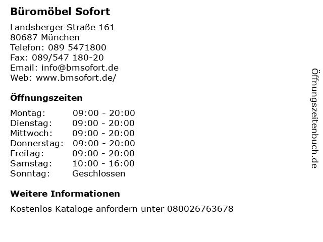 ᐅ öffnungszeiten Büromöbel Sofort Landsberger Straße 161 In München