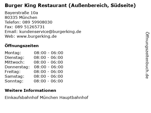 Burger King Restaurant (Außenbereich, Südseite) in München: Adresse und Öffnungszeiten