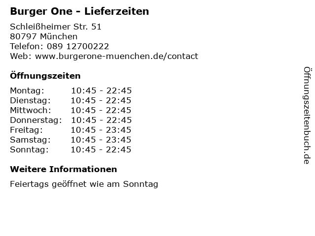 Burger One - Lieferzeiten in München: Adresse und Öffnungszeiten