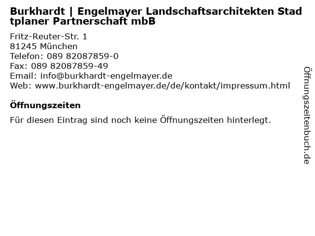 Burkhardt   Engelmayer Landschaftsarchitekten Stadtplaner Partnerschaft mbB in München: Adresse und Öffnungszeiten