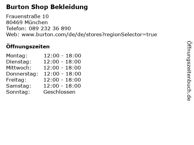 Burton Shop Bekleidung in München: Adresse und Öffnungszeiten