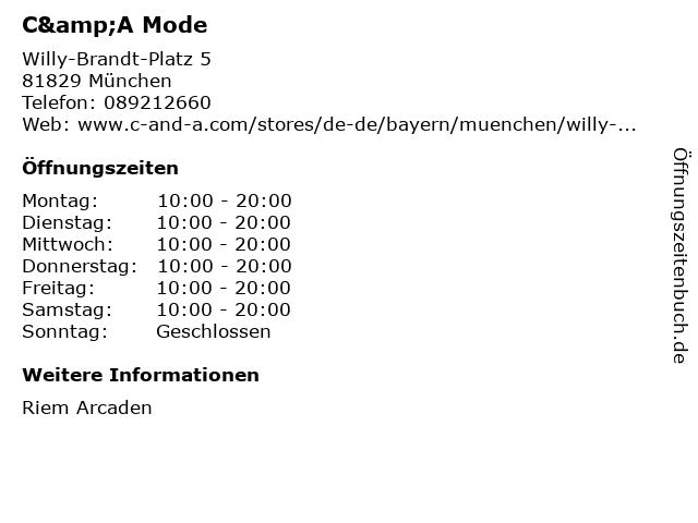 C&A Mode GmbH & Co. KG in München: Adresse und Öffnungszeiten