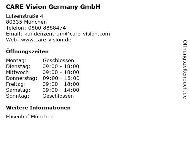 CARE Vision Germany GmbH in München: Adresse und Öffnungszeiten