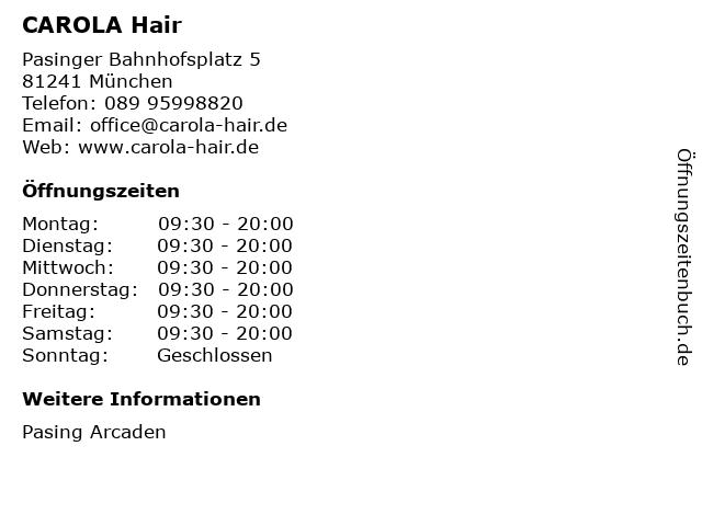 CAROLA Hair in München: Adresse und Öffnungszeiten