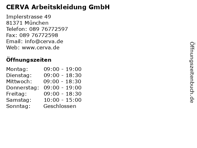 CERVA Arbeitskleidung GmbH in München: Adresse und Öffnungszeiten