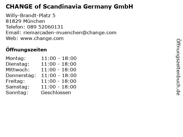 CHANGE of Scandinavia Germany GmbH in München: Adresse und Öffnungszeiten