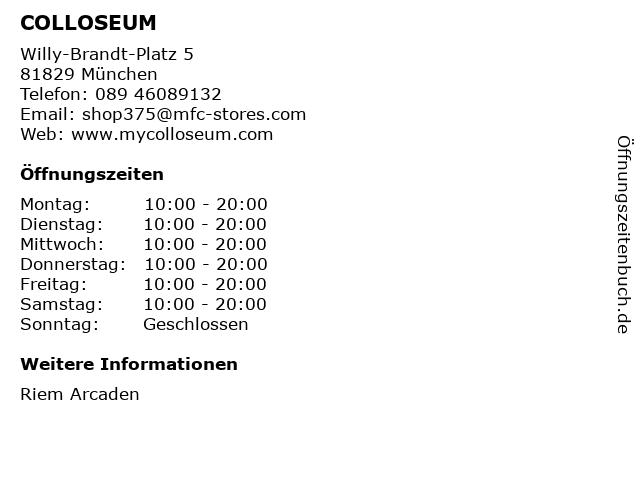 COLLOSEUM in München: Adresse und Öffnungszeiten