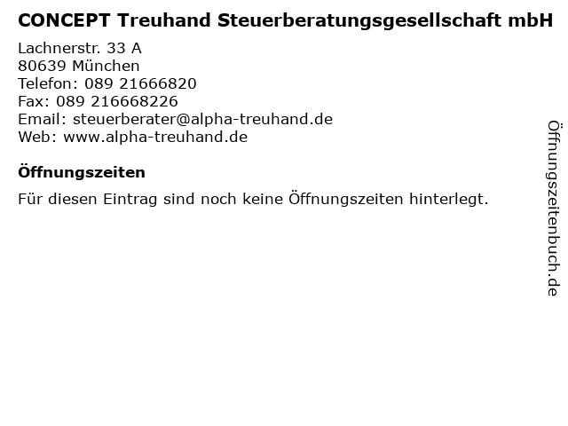 CONCEPT Treuhand Steuerberatungsgesellschaft mbH in München: Adresse und Öffnungszeiten