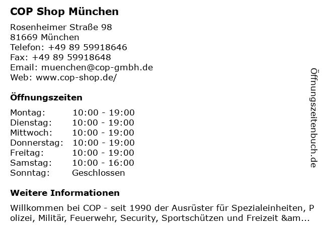 ᐅ öffnungszeiten Cop Shop München Rosenheimer Straße 98 In München