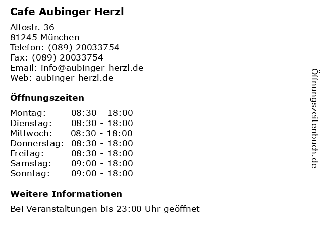 Cafe Aubinger Herzl in München: Adresse und Öffnungszeiten