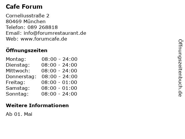 Cafe Forum in München: Adresse und Öffnungszeiten