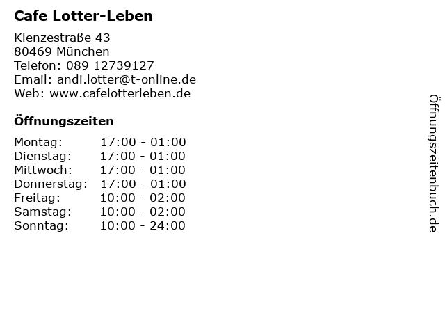 Cafe Lotter-Leben in München: Adresse und Öffnungszeiten