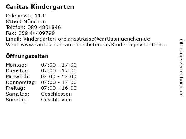 Caritas Kindergarten in München: Adresse und Öffnungszeiten