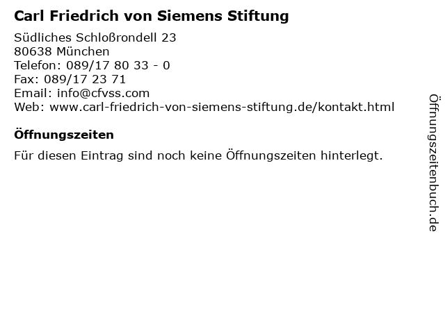 Carl Friedrich von Siemens Stiftung in München: Adresse und Öffnungszeiten