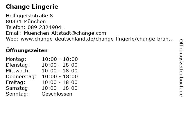 Change Lingerie in München: Adresse und Öffnungszeiten