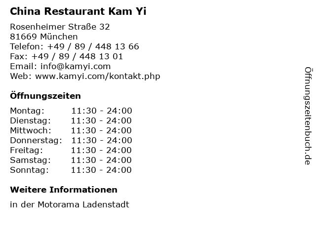 China Restaurant Kam Yi in München: Adresse und Öffnungszeiten
