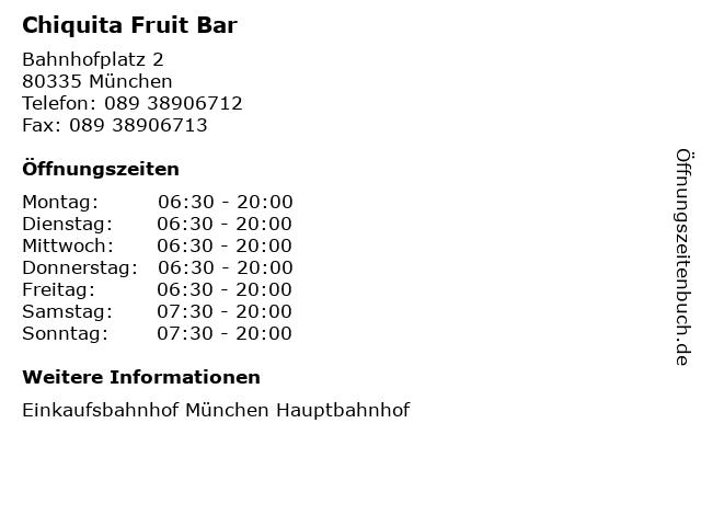 Chiquita Fruit Bar in München: Adresse und Öffnungszeiten