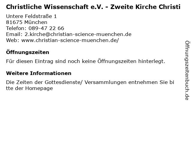 Christliche Wissenschaft e.V. - Zweite Kirche Christi in München: Adresse und Öffnungszeiten